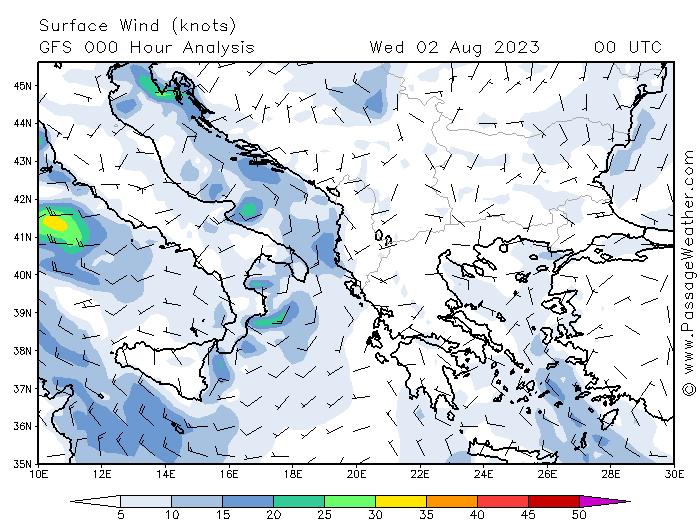 Větrná mapa Chorvatsko - dnes