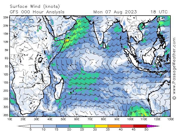 meteo vents ocean indien
