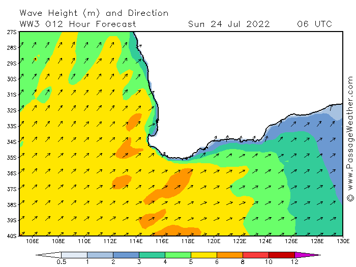 GFS sea swells for SW of Western Australia via http://www.passageweather.com