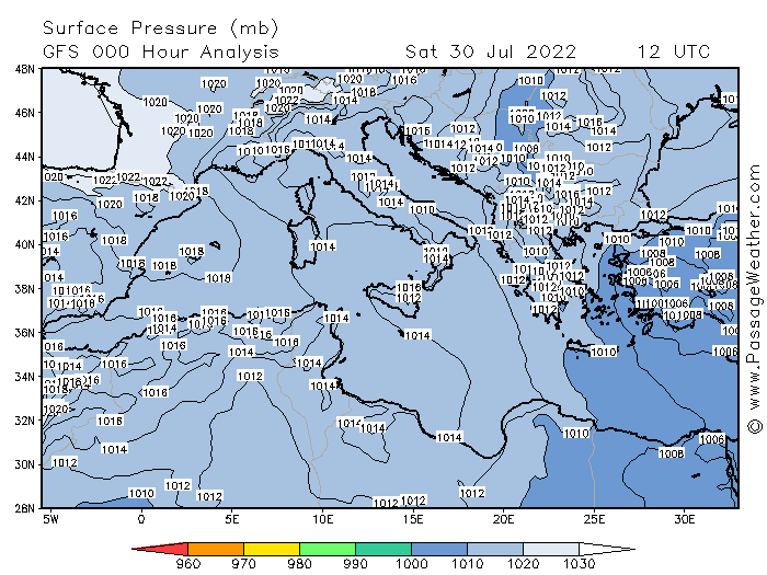 Surface Pressure (mb) GFS 000 Hour Analysis