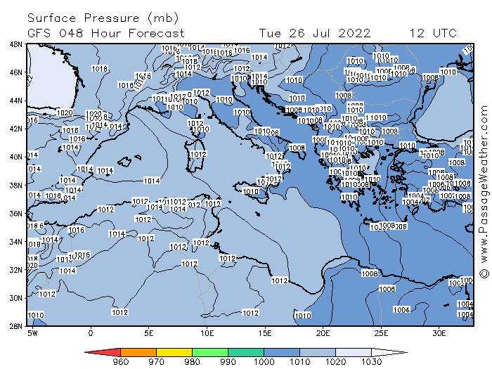 Surface Pressure (mb) GFS 036 Hour Analysis