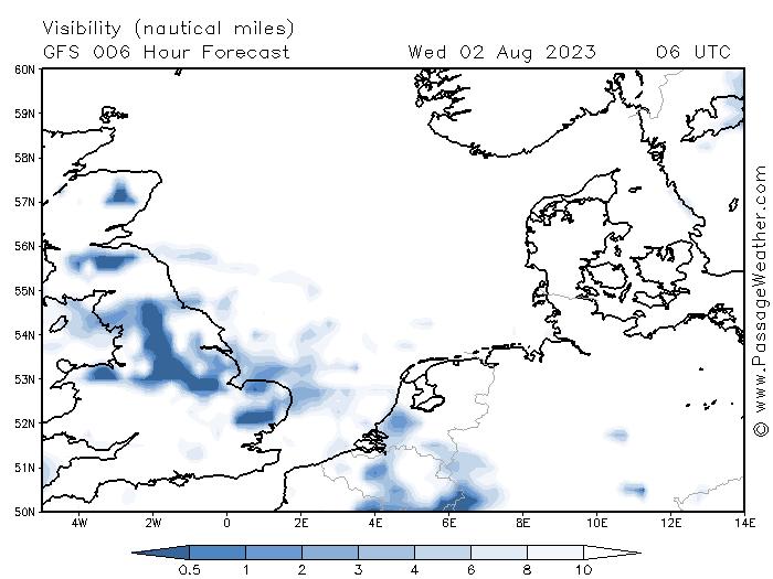 Zichtverwachting Noordzee