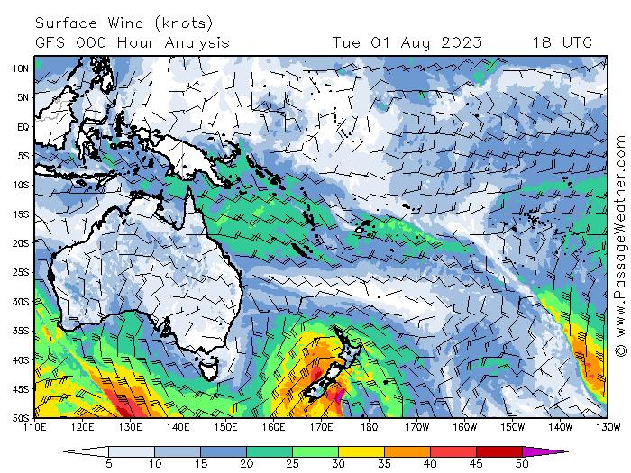 Prévisions de vent Pacifique Ouest Nouvelle Calédonie Australie